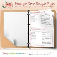 Rose Printable Vintage Recipe Pages Free Printables Online