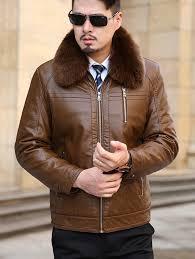 detachable faux fur collar flocking plus size pu leather jacket brown xl