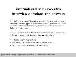 Sales Executive Job Description International Sales Executive Interview Questions And Answers