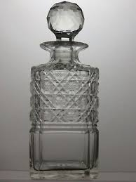 antique cut glass crystal very rare square whisky decanter 9 tall