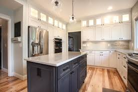 Dark Shaker Kitchen Cabinets Ice White Shaker With Downtown Dark Cabinets In Dublin Ohio