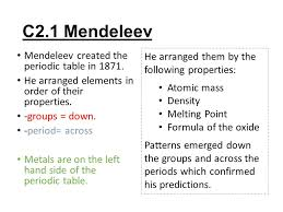 C2 Topic 1 and 2. C2.1 Mendeleev Mendeleev created the periodic ...