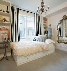 charming bedroom decor with cream lilly pulitzer bedding plus black and white stripped curtain and chandelier charming bedroom ideas black white