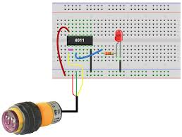 how to build a infrared proximity switch circuit a nand gate infrared proximity switch circuit using nand gate breadboard schematic