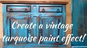 diy vintage turquoise paint technique rustic duck furniture