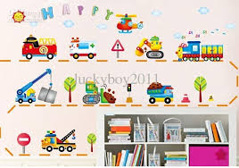superb cartoon car wall stickers car crane bulldozer children u0027s room