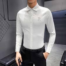 Black Designer Dress Shirt 2019 Men Shirt Designer Rhinestone Wing Long Sleeve Casual Slim Fit Dress Shirts Black White Streetwear Camisa Social Masculina