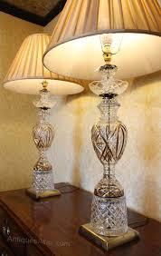 pair vintage cut glass table lamps antique lighting