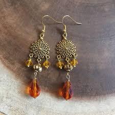 orange and gold chandelier dangle earrings crystal earrings bo