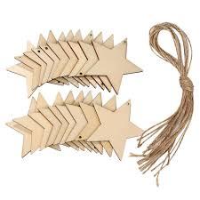 10pcs blank star shape wood chip sheet hanging tags cutouts laser engraving wooden diy crafts newchic