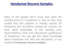 handyman resume sample employed handyman resume  httpgetresumetemplateinfo3245self - Handyman Resume Samples