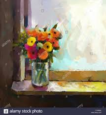 oil painting bouquet of daisy and gerbera flowers glass vase with flowers in front of the window
