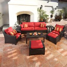 outdoor white wicker furniture nice. Breathtaking Patio Conversation Sets Design For Your Cool Outdoor Furniture Ideas: Nice Red Cushion White Wicker A