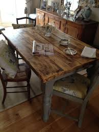 4ft rectangle kitchen table made from reclaimed scaffold boards painted in loft in home furniture diy furniture tables ebay