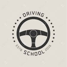 Graphic Design Lessons Driving License School Vector Logo Sign Emblem Steering Wheel