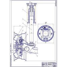 Чертеж тормозного механизма заднего колеса ВАЗ cdw dwg Тормозной механизм заднего колеса ВАЗ 2110