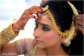 getting ready hair and makeup tikka bridal jewelry