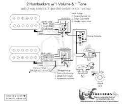 wiring question 2 humbuckers, series split parallel for each Pickup Wiring Diagram One Volume One Tone what i did not understand is why the ground wire and wire going to the 3 way switch are reversed coming off the on on on mini switch for the neck and bridge DiMarzio Wiring Diagrams