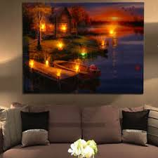 image is loading led lighted lake cabin sunset boat canvas wall  on led wall art home decor with led lighted lake cabin sunset boat canvas wall art light up picture