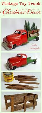 diy red truck with trees as simple rustic decor