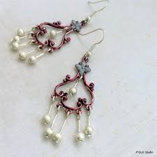 chandelier earrings coloured dark pink red silver connector stardust beads
