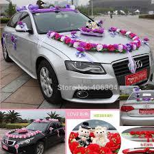 artificial flowers 1set lot wedding car decoration flowers set red pink purple round wedding car flower decoration with bear