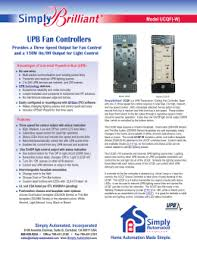 upb 101 simply automated upb fan controllers