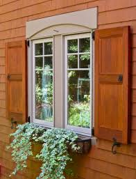 stained flat panel exterior shutters