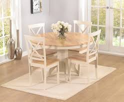 elstree 120cm oak and cream round dining table 4 chairs