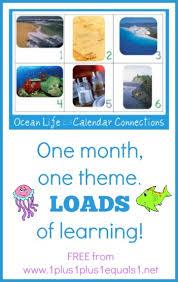 August Theme Calendar Ocean Life August Calendar Connections Cards 1 1 1 1