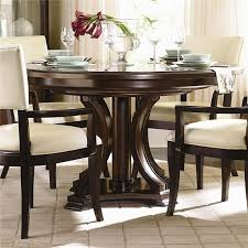 kitchen pedestal dining table set: bernhardt westwood round pedestal dining table with leaf baers furniture kitchen table