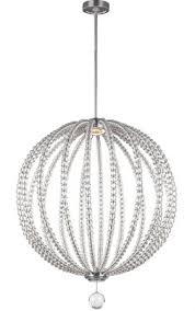 feiss oberlin large satin nickel led orb pendant light rondure crystal beads