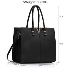 leahward black v detail large black women s faux leather tote handbags