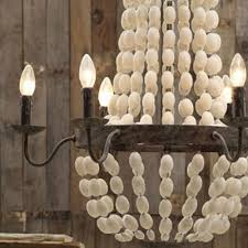 iron frame wood wooden beads chandelier w 6 lights large fixture big