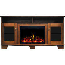 electric fireplace heater tv stand in walnut with enhanced log display