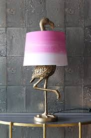 antique gold flamingo table lamp with pink white shade