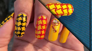 Red And Yellow Nail Designs Yellow Black Red Combination Nail Art Design