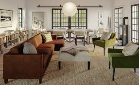 with brown furniture