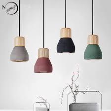 nordic loft style modern wood cement pendant lights 4 colours frisky lighting