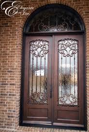 Custom Iron Front Door With Arched Transom Double Doors - Iron exterior door
