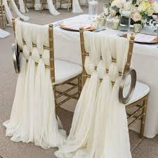 chair covers. 2017 ivory chiffon chair sashes wedding party deocrations bridal covers sash bow custom made color available 20inch w * 85inch l from graceful_ladies, i