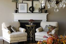 view full size chic living room design with mocha walls paint color gray stone fireplace