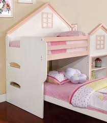House Bunk Bed Loft Bed House White Pink Twin Twin Bunk Bed Bookcase Drawers
