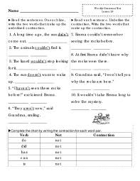 Contraction Chart Grammar Weekly Grammar Test Lesson 29 Worksheet For 2nd 3rd Grade
