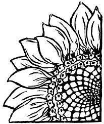Sunflower Stencil Designs Corner Sunflower Stencil Sunflower Drawing Linocut Prints
