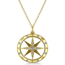 compass necklace pendant diamond accented 14k yellow gold 0 19ct