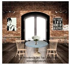 dining room table mirror top: zinc top dining table dining room industrial with hammered zinc top round