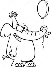 Vector Van Een Cartoon Gelukkige Verjaardag Olifant Houden Een
