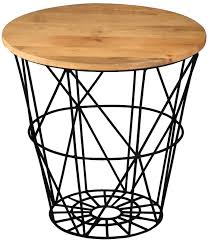 ravi iron base solid wood top side table metal mango wood round side table