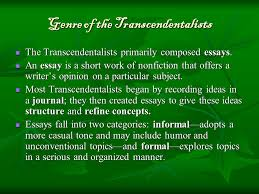 notes on ralph waldo emerson facts about emerson facts about  genre of the transcendentalists the transcendentalists primarily composed essays
